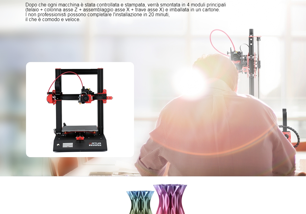 Ortur Obsidian 3D Printer - Black EU Plug