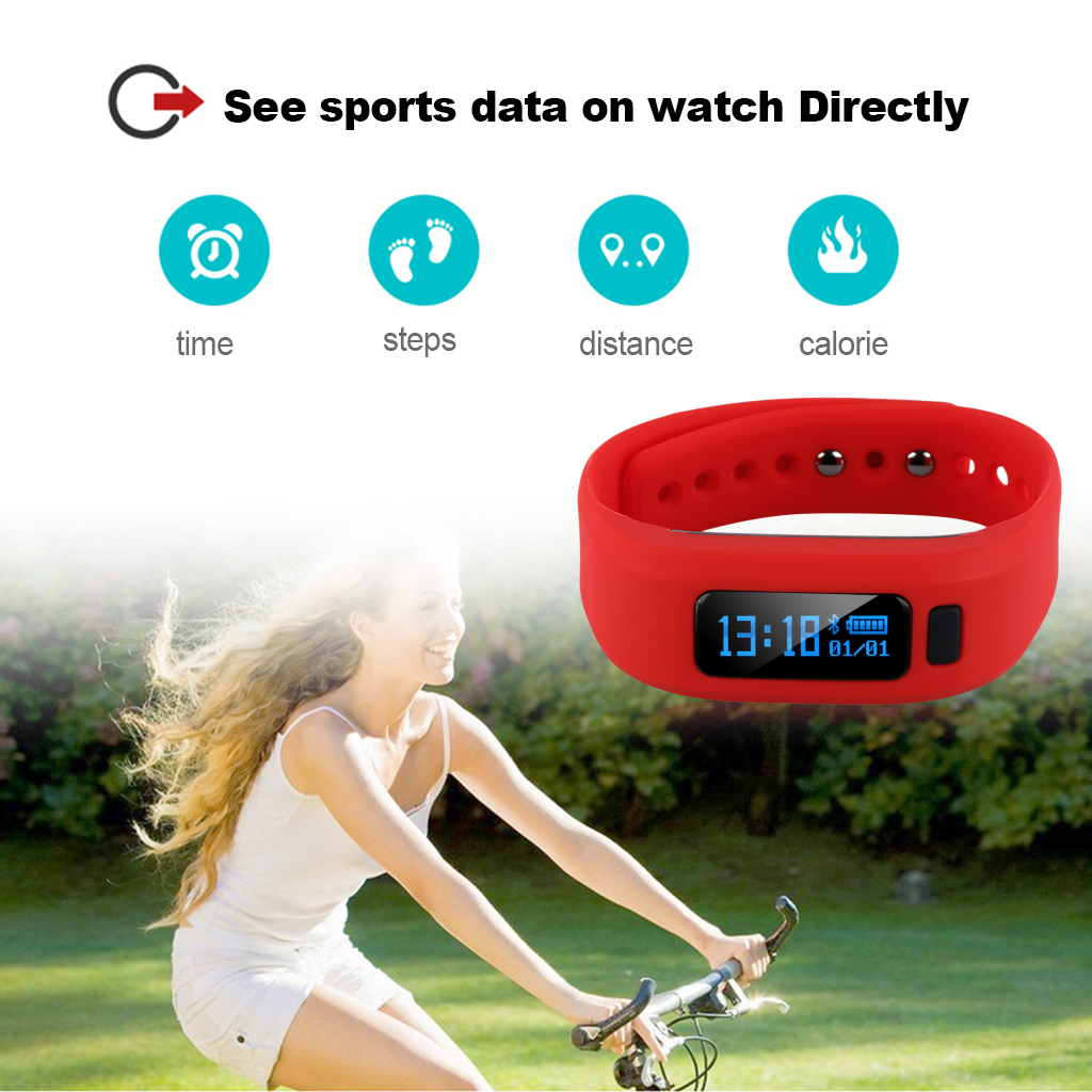 Excelvan Moving Up2 Smart Healthy Bracelet Bluetooth V4.0 Wristband with Pedometer Sleep Monitoring Tracking Calorie Remote Capture