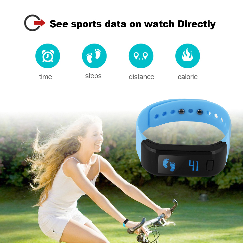 Excelvan OLED Smart Bracelet IP67 Waterproof Bluetooth 4.0 Pedometer Tracking Calorie Health Wristband Sleep Monitor Call Reminder for Android iOS