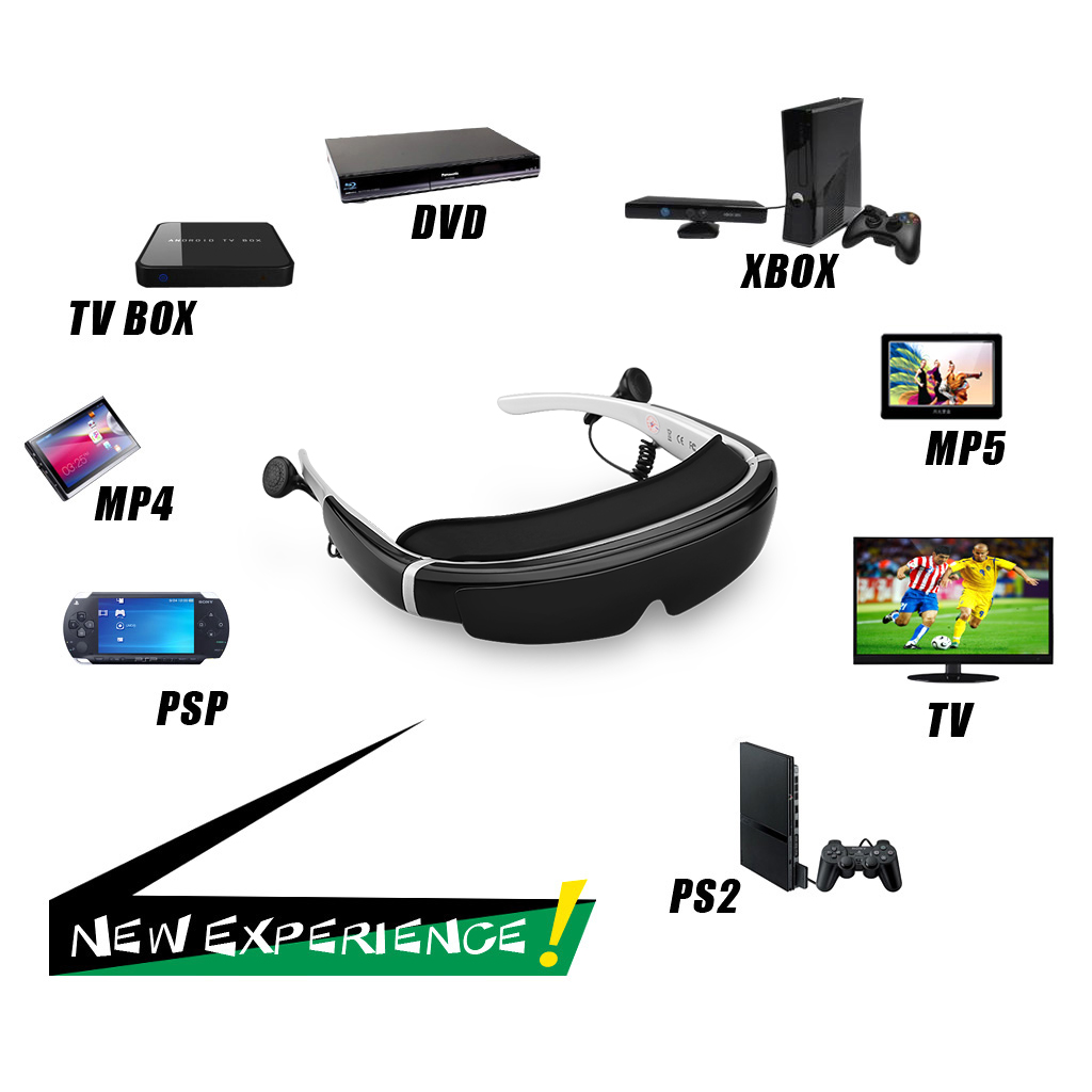 Excelvan HOT 98 inches Side by Side 3D Video Glasses Virtual Widescreen HD  Digital Portable Video Eyewear with 8GB Memory, Personal Theater AV IN for
