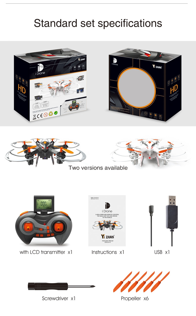 Yi Zhan i Drone i6s 2.4G RC Hexacopter 2.0MP HD Camera 3D Rollover One Key Return Drone Black