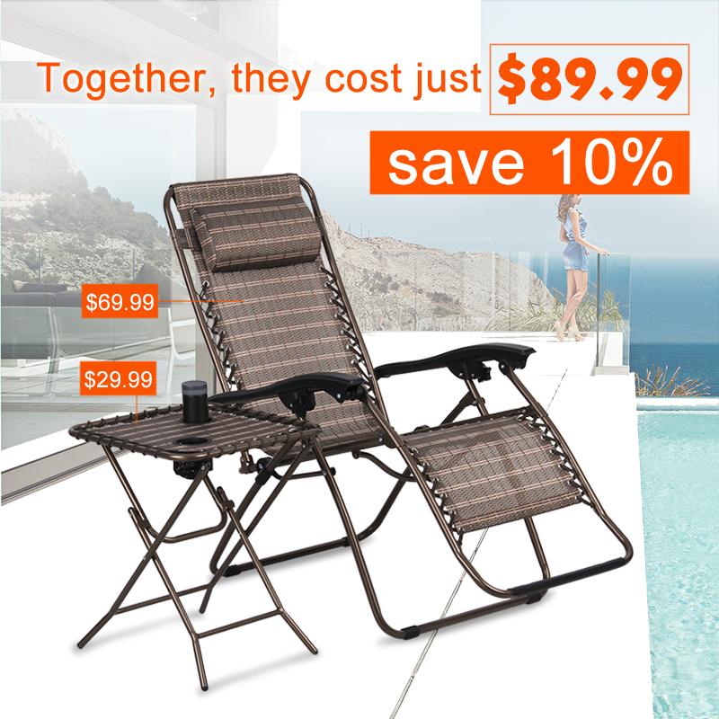 (FOLD LOUNGE CHAIR BRONZE) Finether Folding Zero Gravity Lounge Chair Reclining Chair with Adjustable Headrest for Home and Office Napping, Patio, Garden, Camping, Beach, Bronze-
