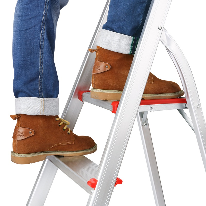 (FOLD STEP LADDER 3) Finether Portable Folding Aluminum 3-Step Ladder with Standing Platform, Lightweight Convenient Space-Saving for Household Office Use, EN131 Certified, 330 lbs Capacity-