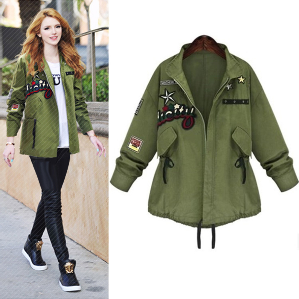 Army Green Bomber Jackets Women 2016 Fall New Arrival Fashion Womens Army Green Jacket Applique