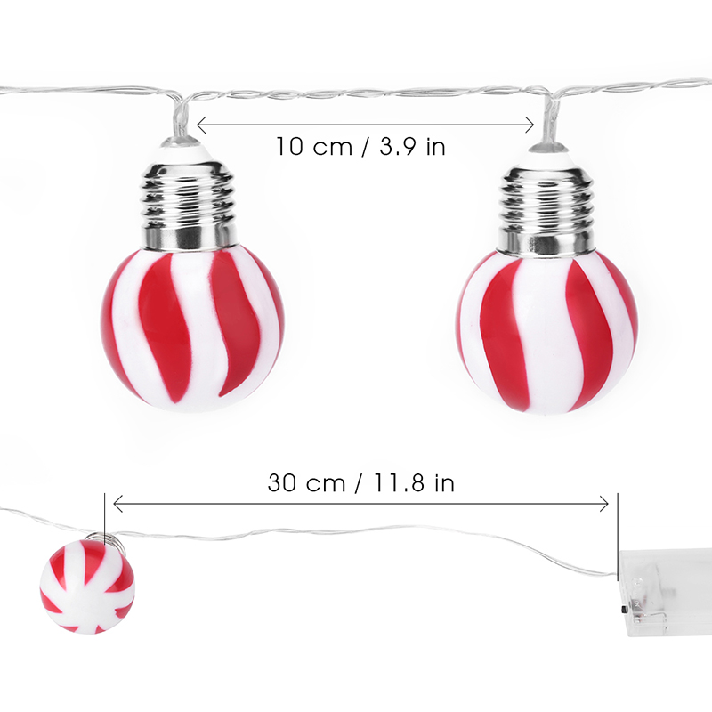 (STRING LIGHT BATTERY GLOBE) Finether 3.94 ft Battery Powered 10 LED Red and White Stripe Globe Ball String Lights for Holiday Christmas Halloween Party Indoor Outdoor Decoration Commercial Use