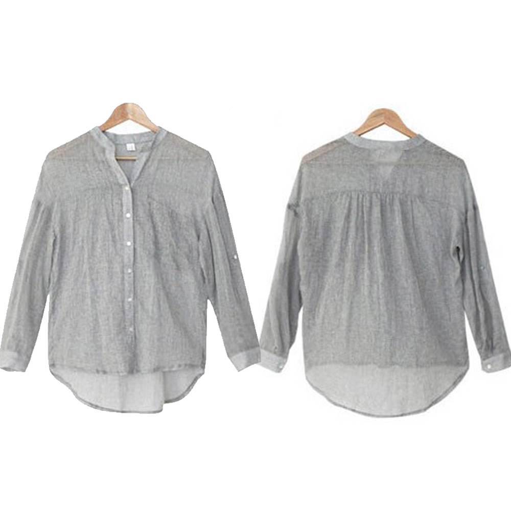 2016 new fresh style button fly long sleeve woman casual linen blouse
