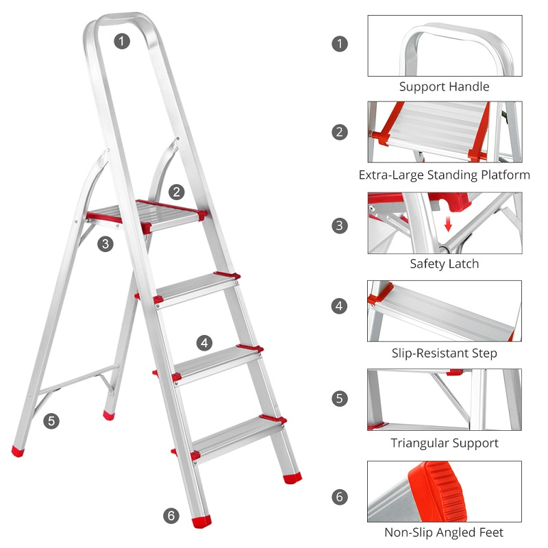 (FOLD STEP LADDER 4) Finether Portable Folding Aluminum 4-Step Ladder with Standing Platform, Lightweight Convenient Space-Saving for Household Office Use, EN131 Certified, 330 lbs Capacity-