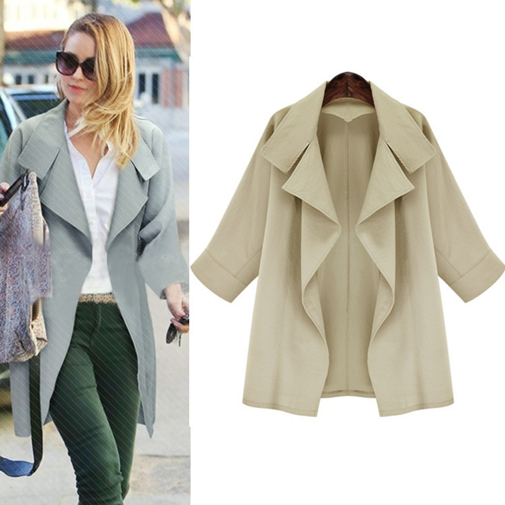 Autumn casual big lapel long sleeve coat 2016 new arrival fashion woman two color overcoat
