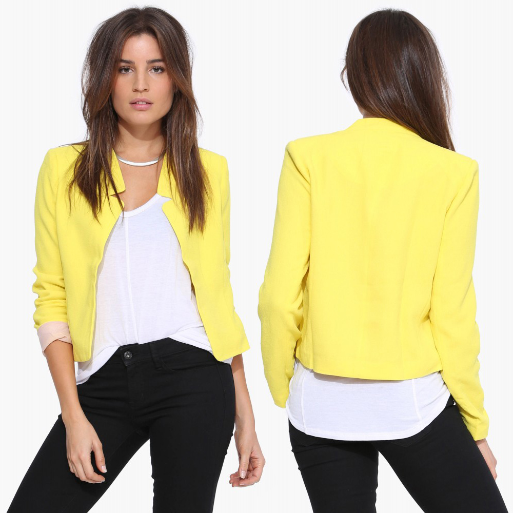 Autumn  casual short   style stand collar   2016 new style long sleeve  woman suit coat