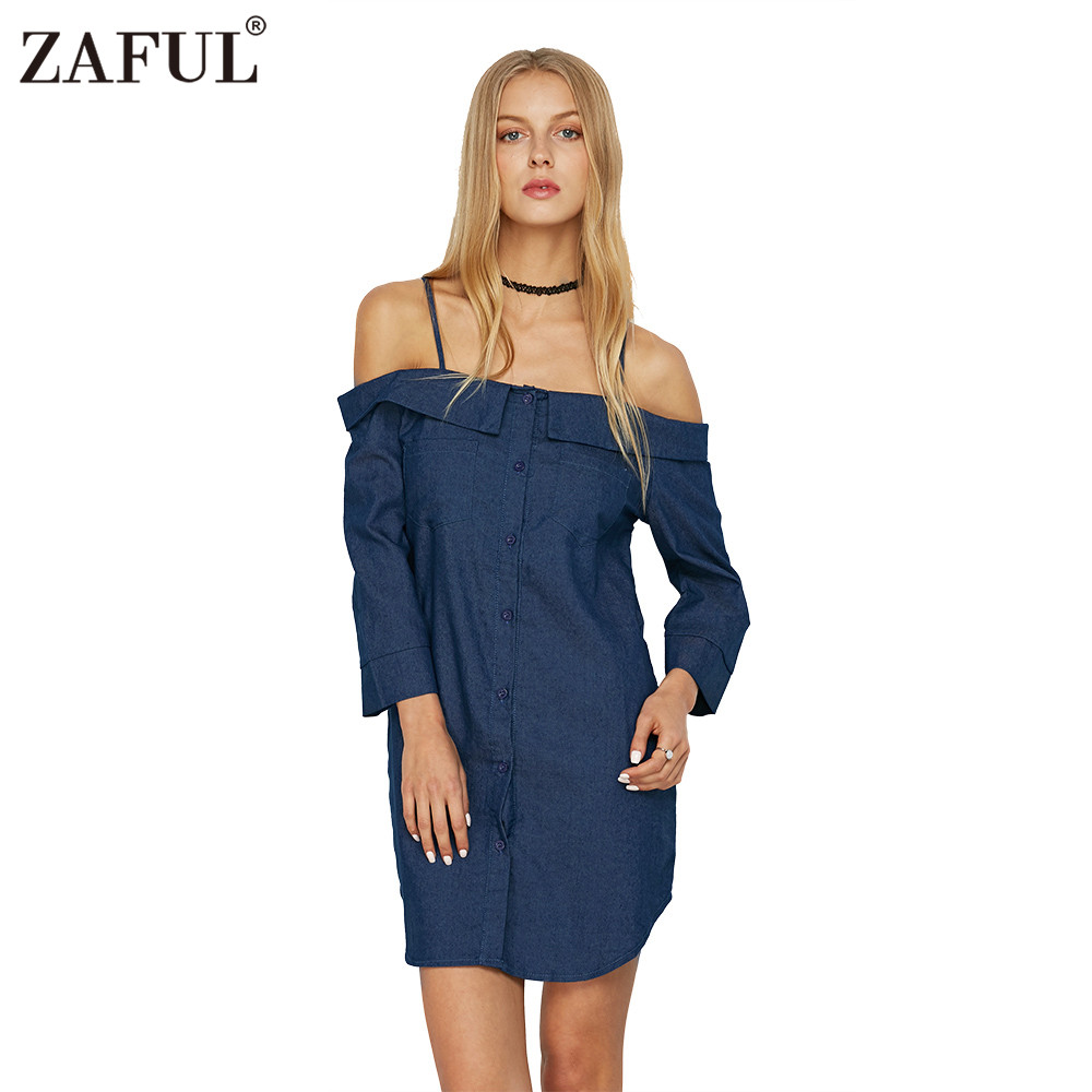 Woman Cami Denim Shirt Dress New Fashion Casual Style Dress Womens