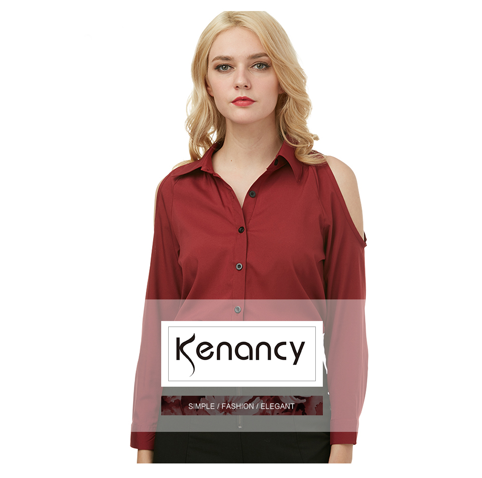4f2f36274e Kenancy Womens Turn-Down Collar Cold Shoulder Blouse Long Sleeve Pure Color  Casual Work Office