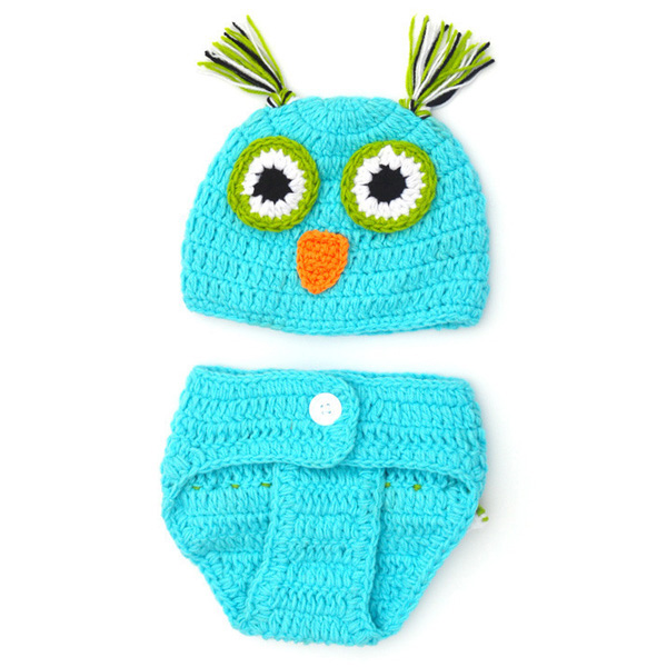 Chic Quality Newborn Wool Knitting Owl Design Baby Costume Hat+Shorts Suits- Blue