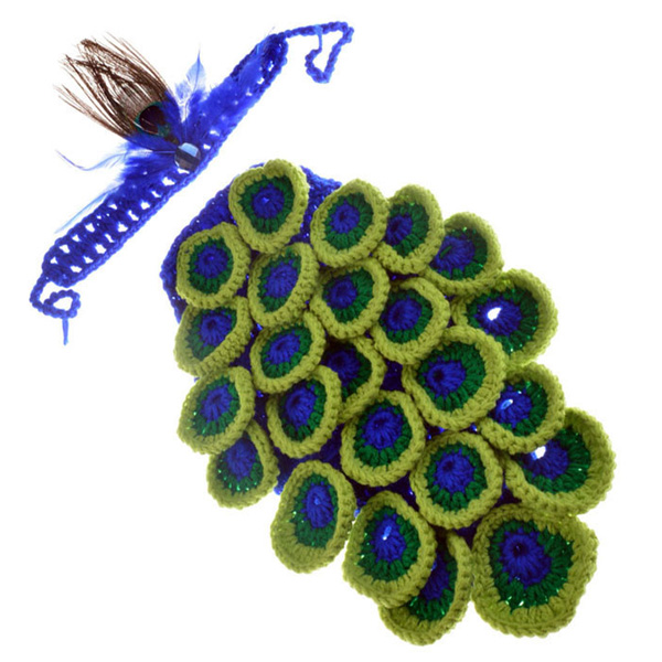 Hot Sale Manual Wool Crochet Peacock Design Baby Clothes with Headband- Colormix