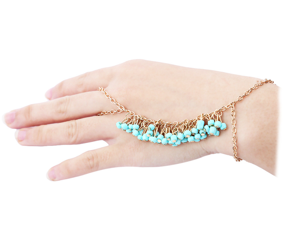 Chic Beads Decorated Bracelet With Ring For Women- Blue