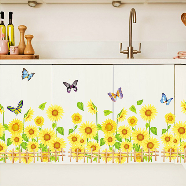 Sunflower Pattern Removeable Wall Stickers For Kids Room- Colormix