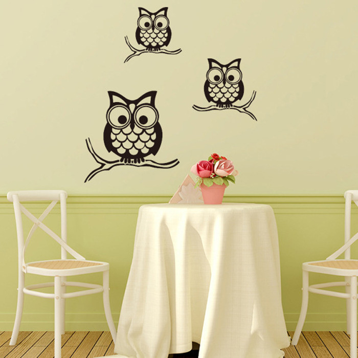 Night Owl Pattern Wall Sticker For Livingroom Bedroom Decoration ...