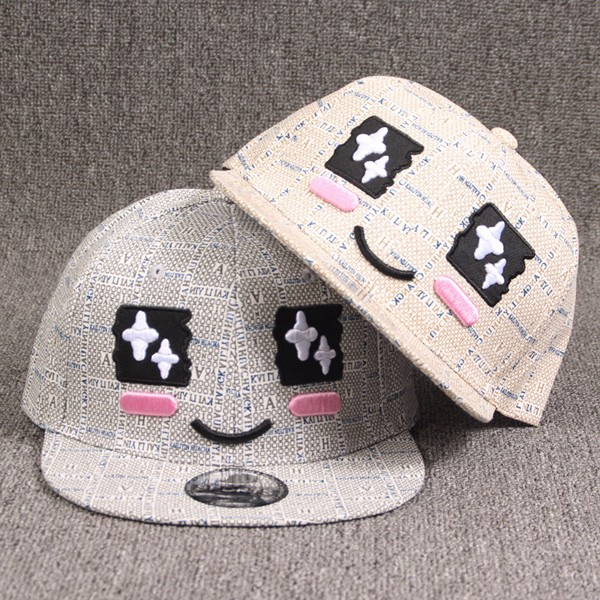 Chic Cute Shy Face Expression Embroidery Letter Pattern Baseball Cap For Women