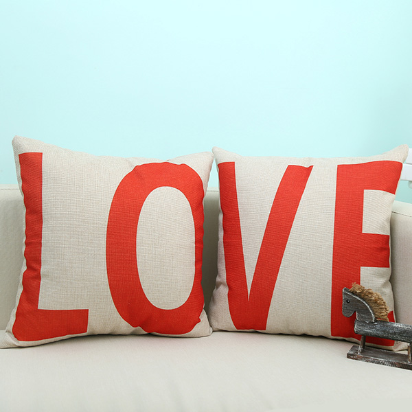 LO Letter Love Sofa Cushion Linen Pillow Case