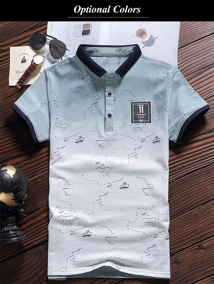Gradient Color Patched Polo Shirt