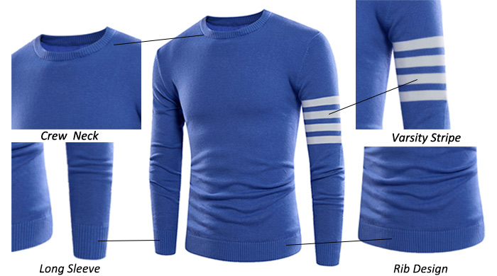 Crew Neck Varsity Stripe Rib Design Sweater