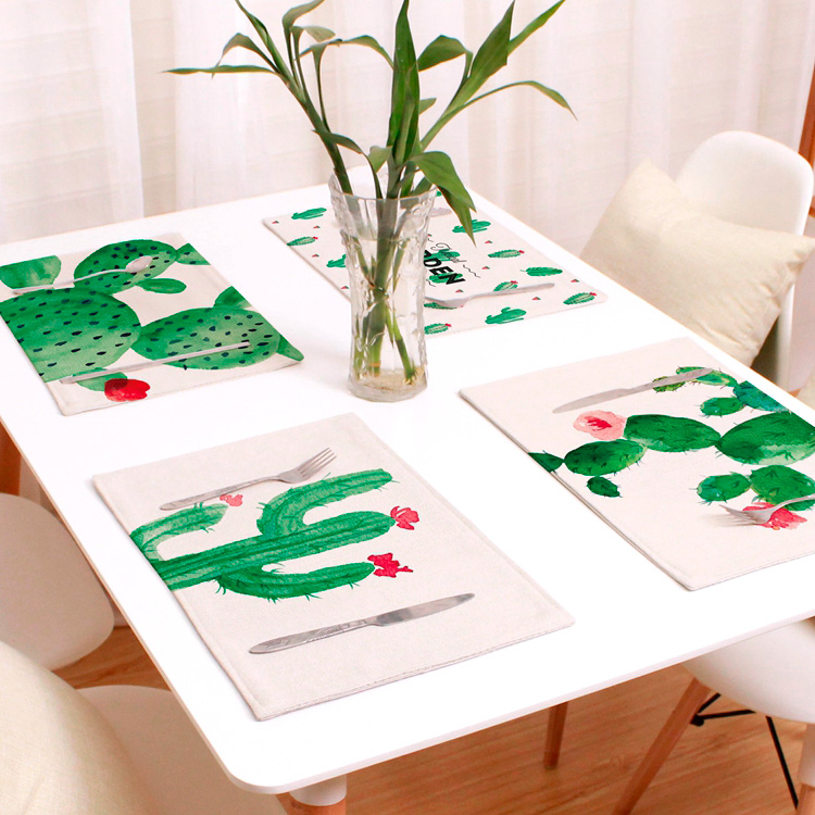 Cactus Printed Heat Insulation Table Placemat- Beige Pattern A