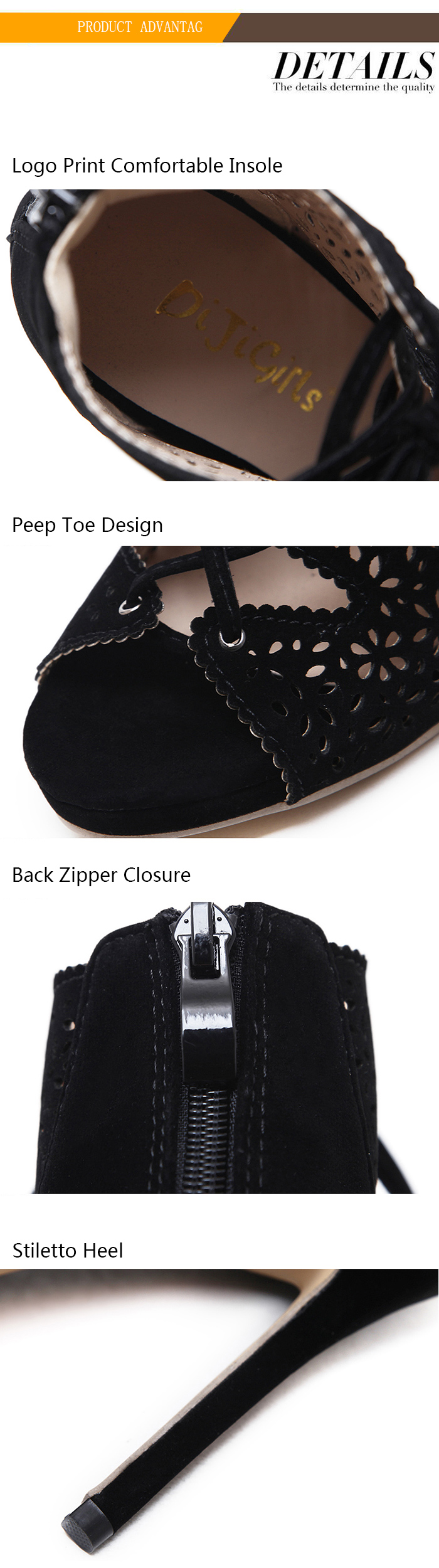 Cut Out Vamp Lace Up Peep Toe Shoes