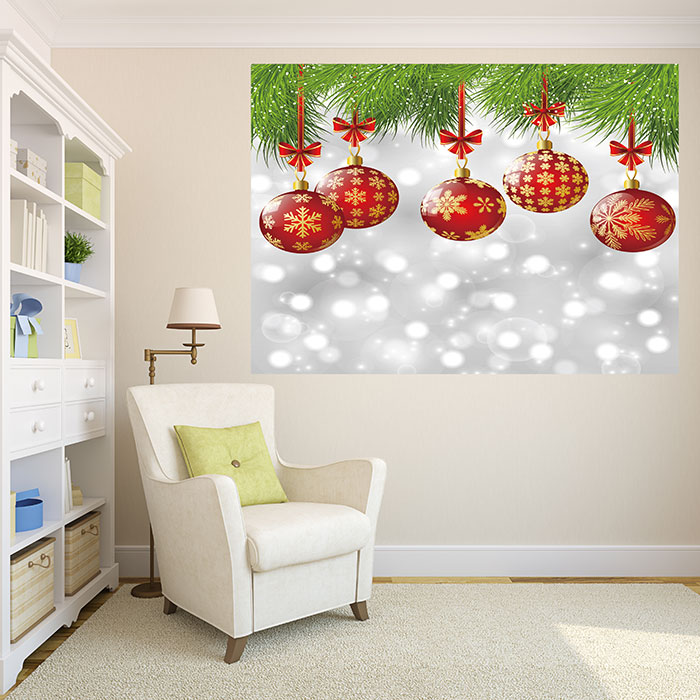 Christmas Baubles Pattern Multifunction Stick-on Wall Art Painting ...