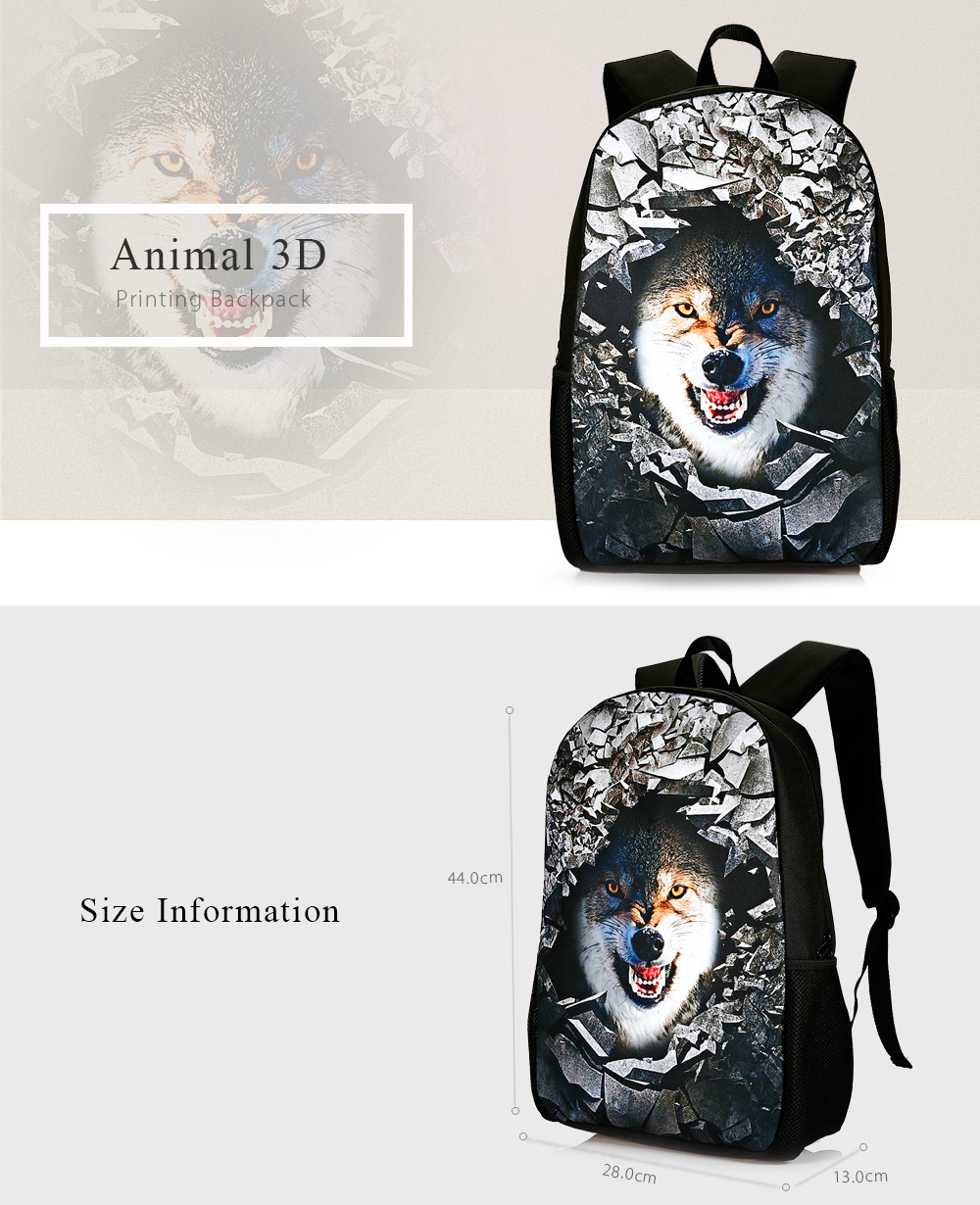 13e1cd235097 3D Rubble Animal Print Backpack - $31.55 Free Shipping|Gearbest.com
