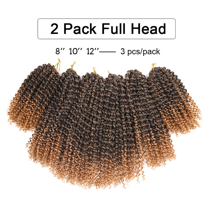 3pcs Short Afro Kinky Curly Twist Braids Mali Bob Synthetic Hair