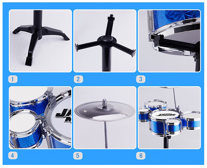 Mini Kids Drum Set For Musical Instruments Learning Educational Toy Blue