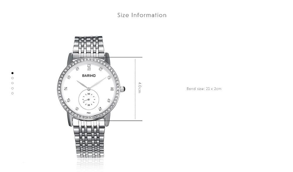 Stainless Steel Rhinestone Business Quartz Watch