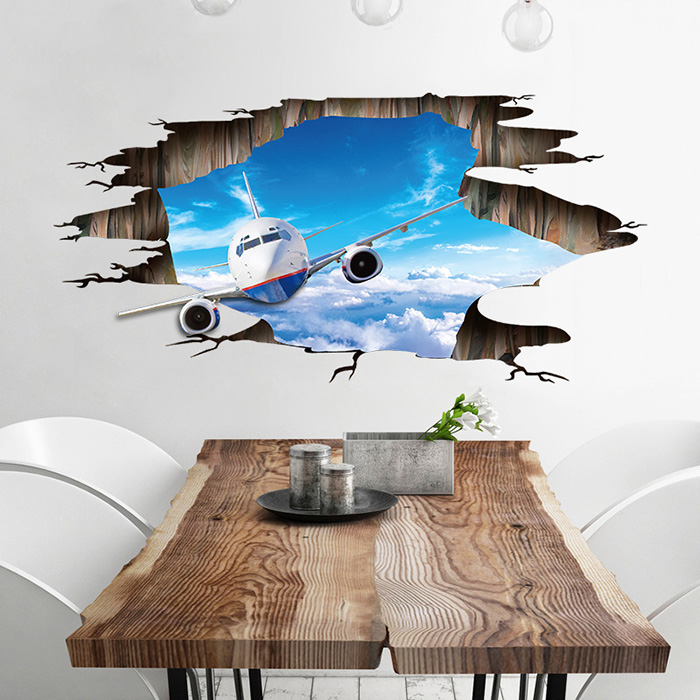 3D Sky Airplane Pattern PVC Removable Wall Floor Sticker
