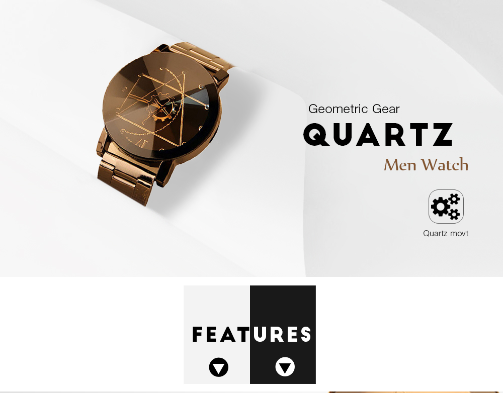 Gear Geometric Steel Band Quartz Watch- Black