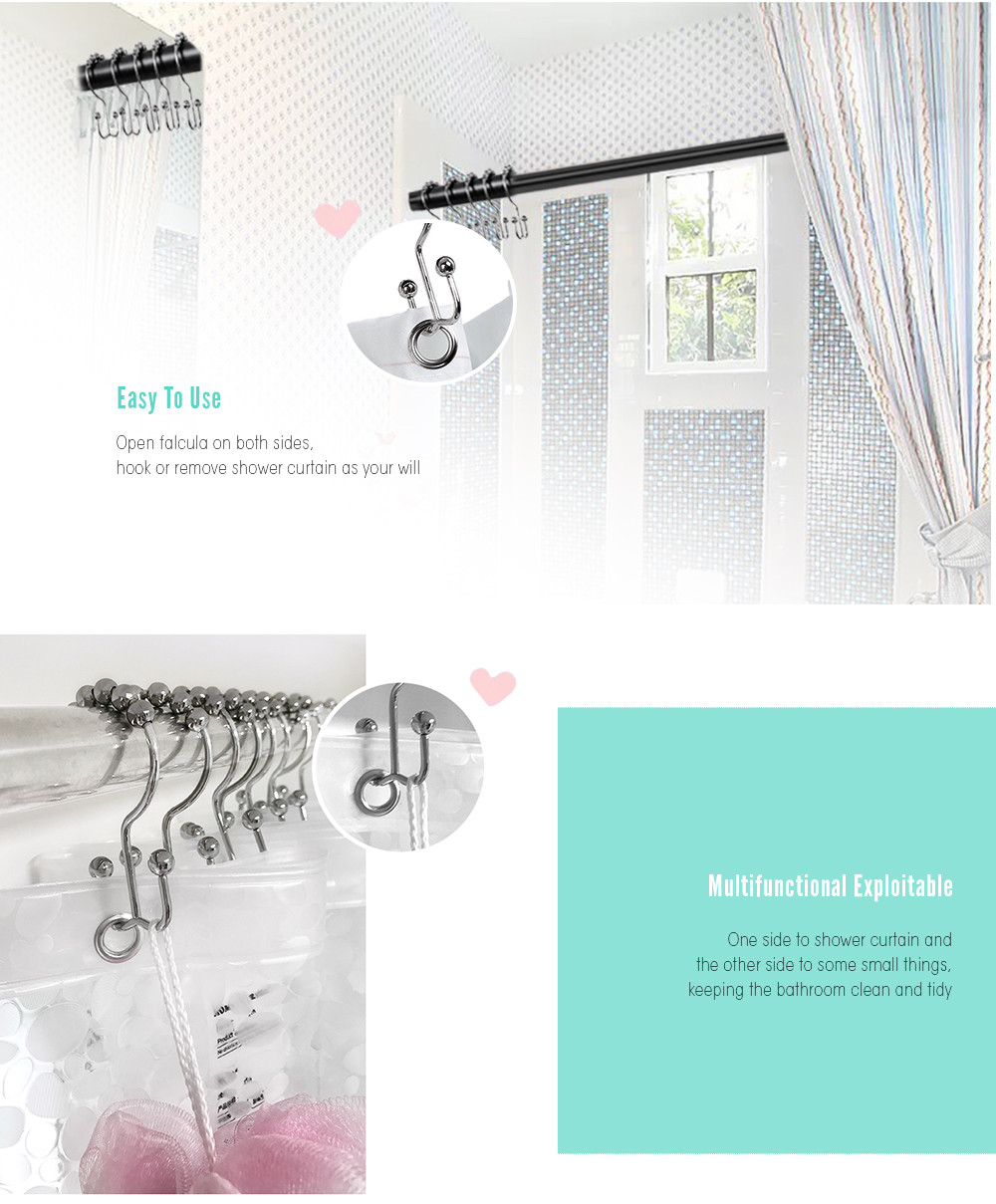 Shower Curtain Stainless Steel W Hook 12pcs