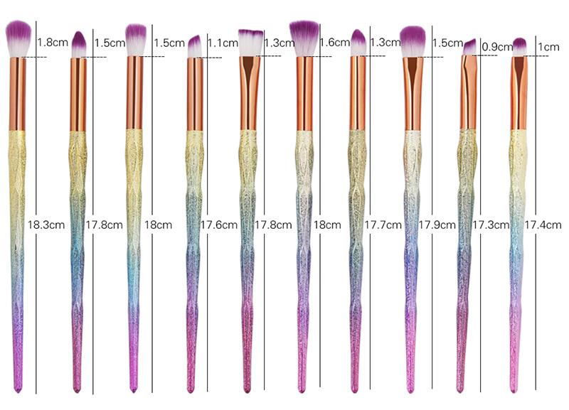 Professional 10Pcs Color Changing Handle Eye Makeup Brush Kit
