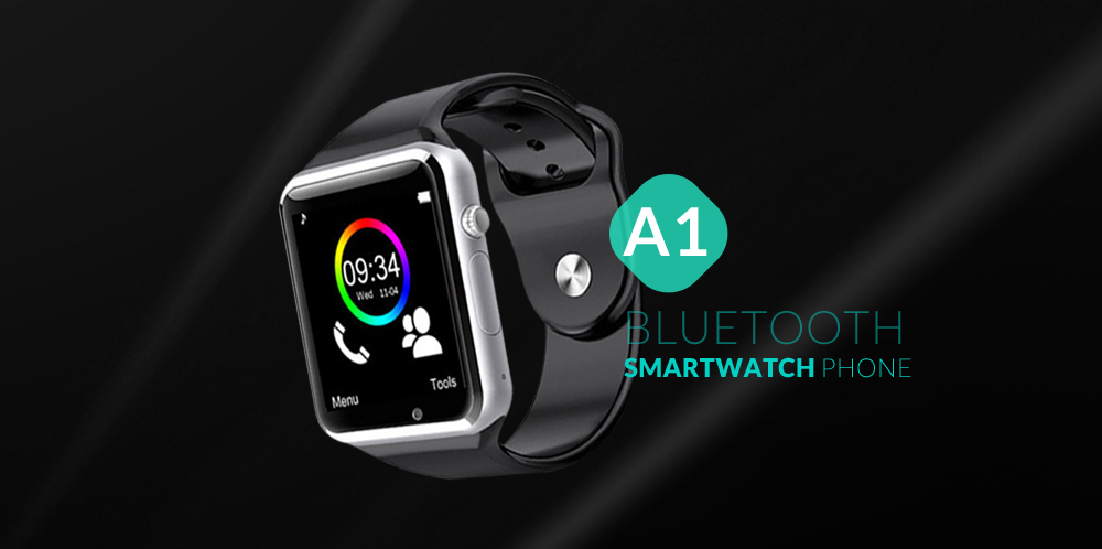 A1 Bluetooth Smart Watch Phone with Pedometer Camera Single SIM- Black