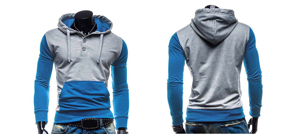 a748fab685 Fashion Hooded Two Color Splicing Button Design Slimming Long Sleeve Cotton  Blend Hoodie For Men-
