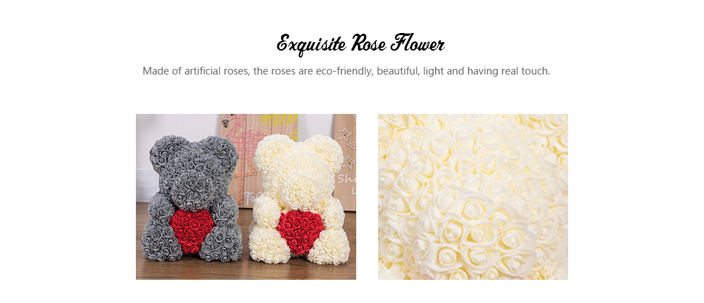 Gift Ornaments Love Heart Shaped Artificial Rose Flowers Bear- Antique White 40*20*30CM