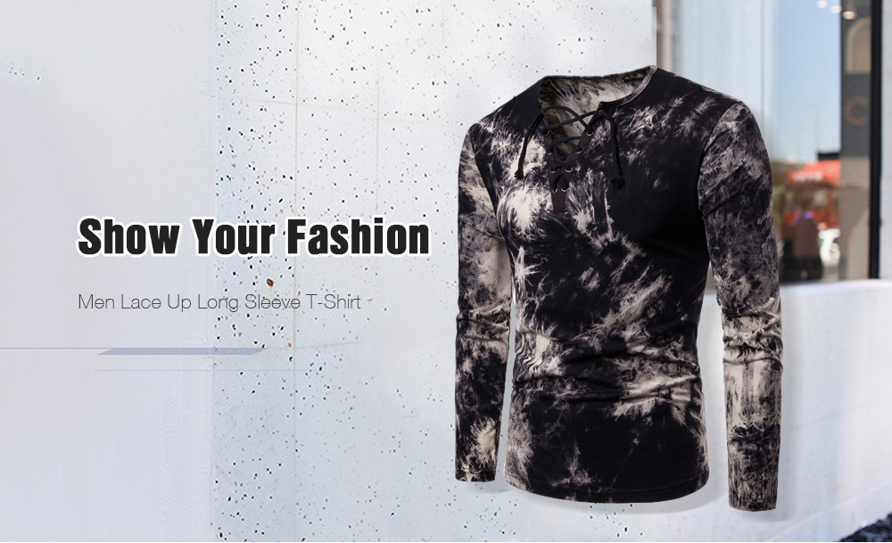 Domple Men Long Sleeve Club Casual Lace Up Velvet V Neck T-Shirts Tops