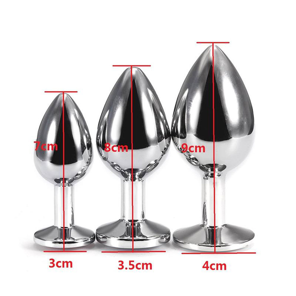 3PCS Small Middle Big Sizes Stainless Steel Metal Anal Plug with Diamonds Plated Anal Dildo Sex Toys Butt Plug for Women- Rose