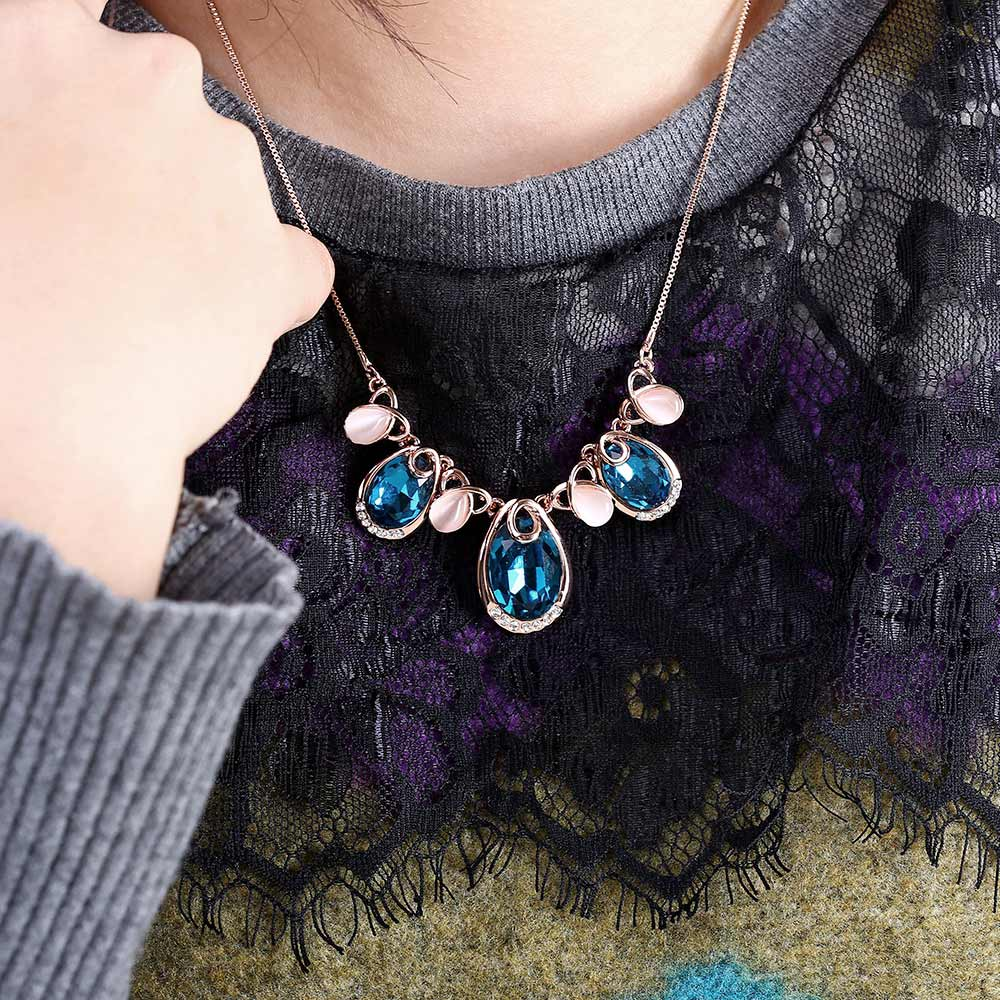 Water Drop Design Faux Opal Zircon Embellished Women Pendant Necklace