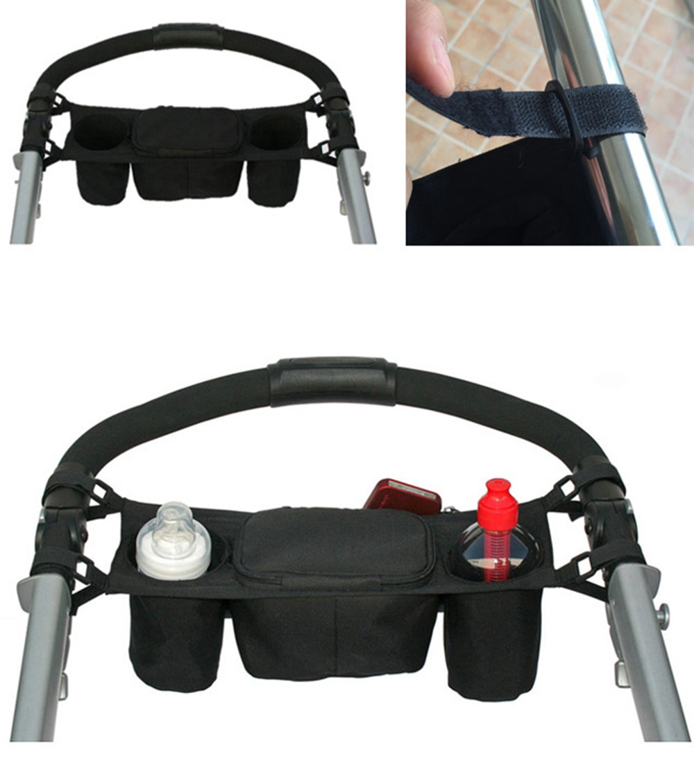 Convenient Black Babies Stroller Organizer Storage Cup Bag- Black