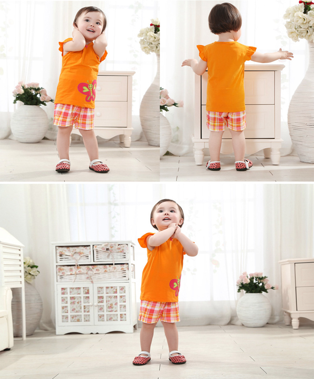 2pcs Cute Round Neck Short Sleeve Butterfly Applique Cotton T-Shirt with Half Pants for Baby Girls