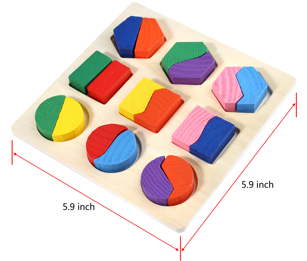 Wooden 3D Geometry Stacking Block Puzzle Educational Toy for Child