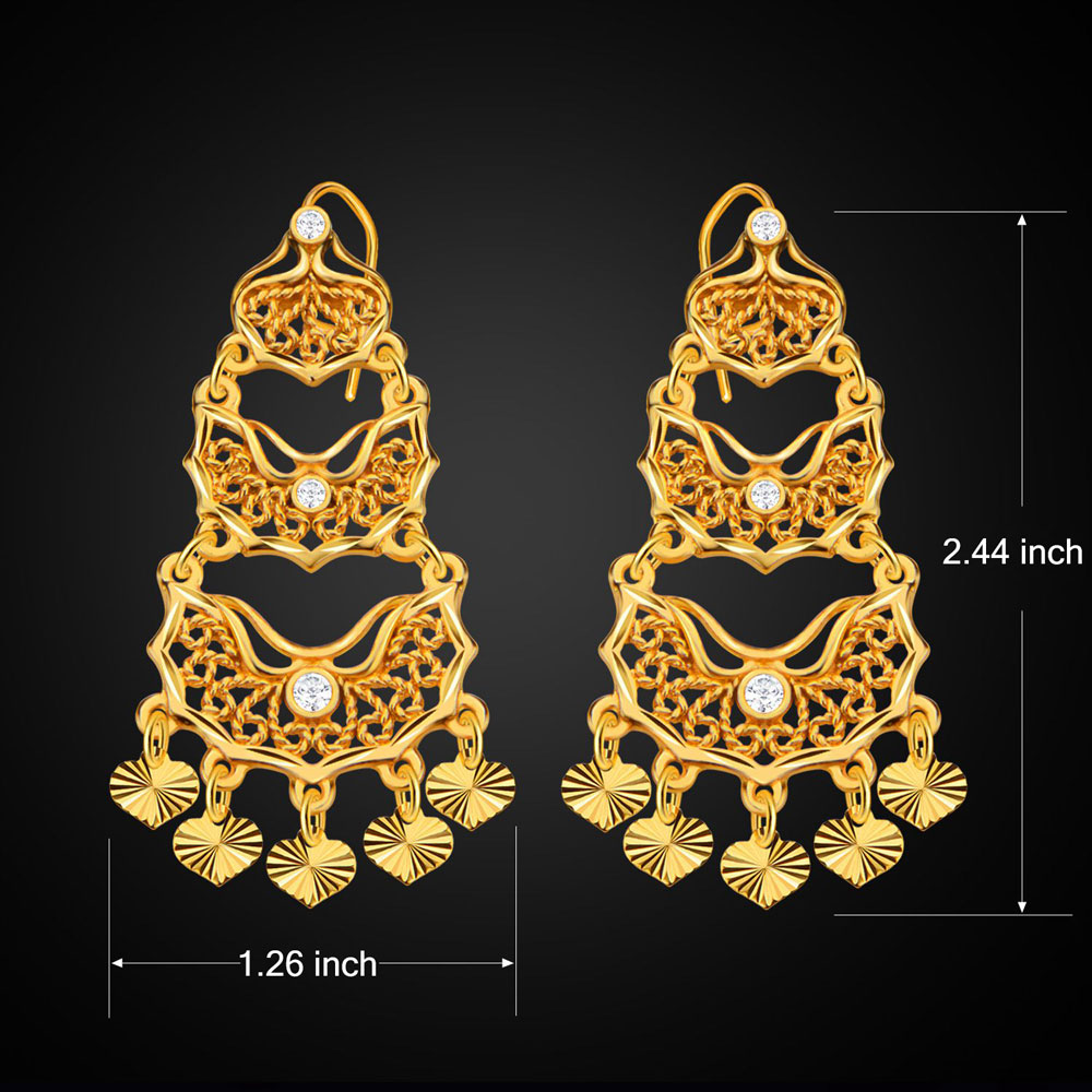 Women Heart 18k Gold Plated Simulated Diamond Drop Earrings
