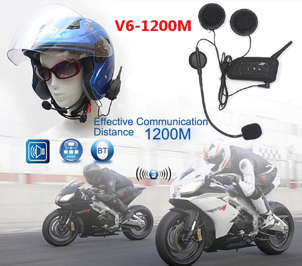VNETPHONE Motorcycle Bluetooth 3.0 Helmet Headset Interphone Wireless 6 Riders Handsfree Headphone for Riding Snow Sport 2pcs