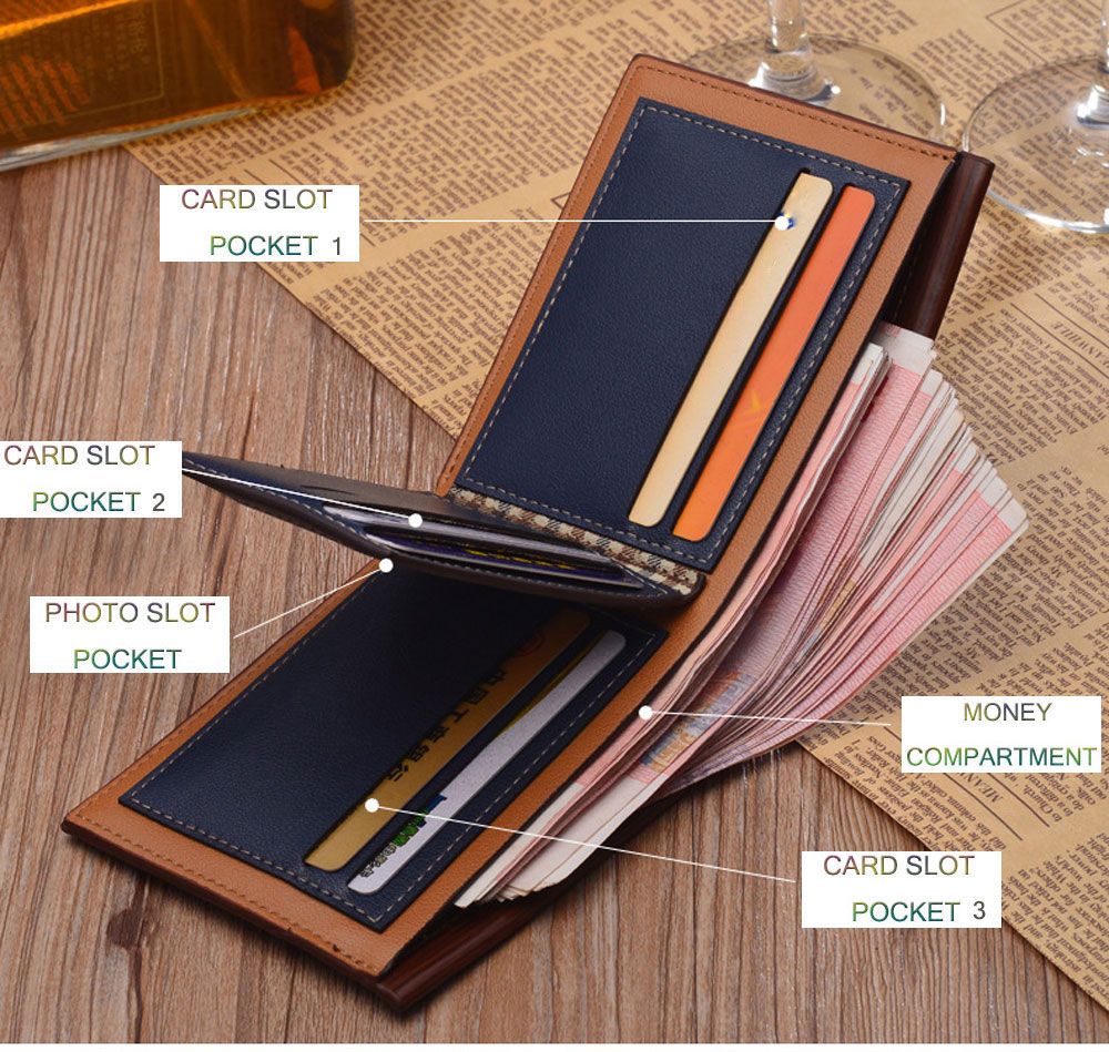 Men Stripe Pattern Letter Embellishment Open Horizontal Wallet