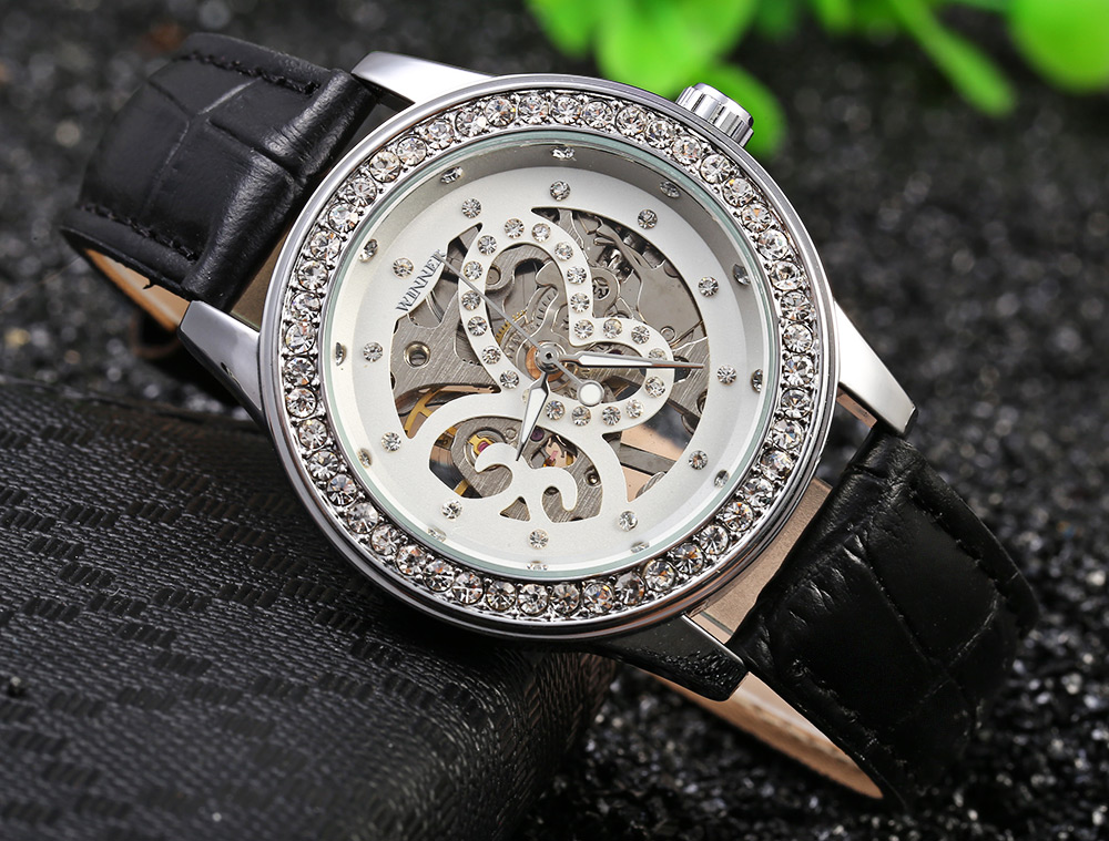 Winner F1205254 Women Automatic Hand-wind Movement Mechanical Watch Rubber Strap- Gold and Pink