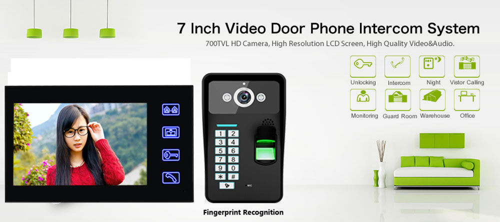 SY816A - MJF11 7 Inches LCD Fingerprint Recognition Video Door Phone Intercom System