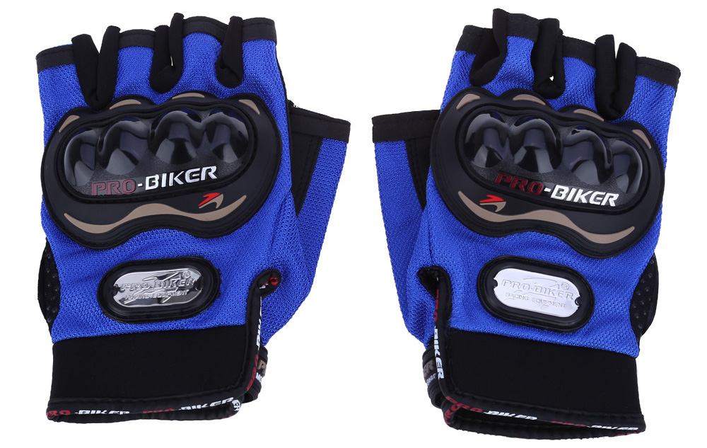 Paired Half-finger Motorcycle Gloves Motorbike Outdoor Sports Racing Protective Gears- Black L